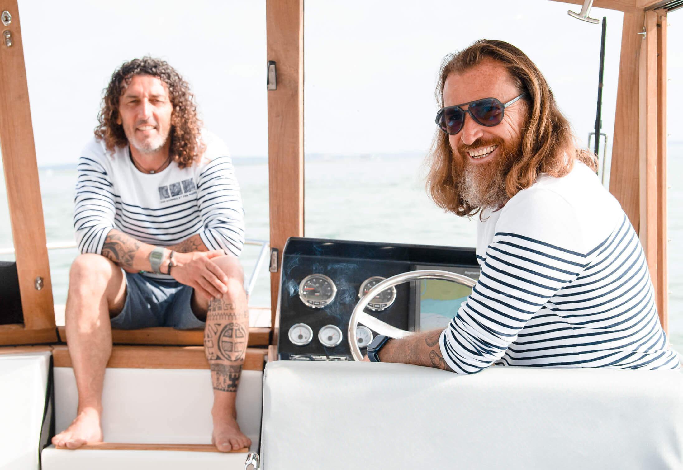 Patrick Anderson et Laurent Estève sur leur bateau L'Empreinte DES HOMMES ET DES MERS